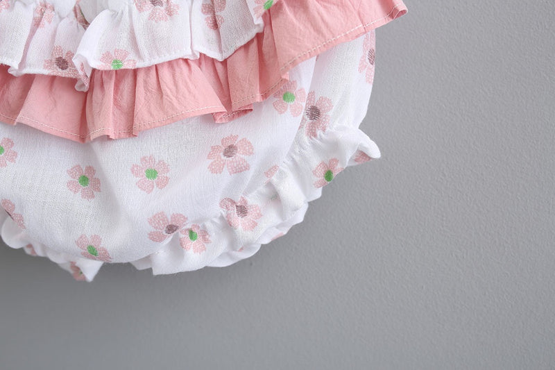 Flower Printed Dress With Ruffles Bloomers