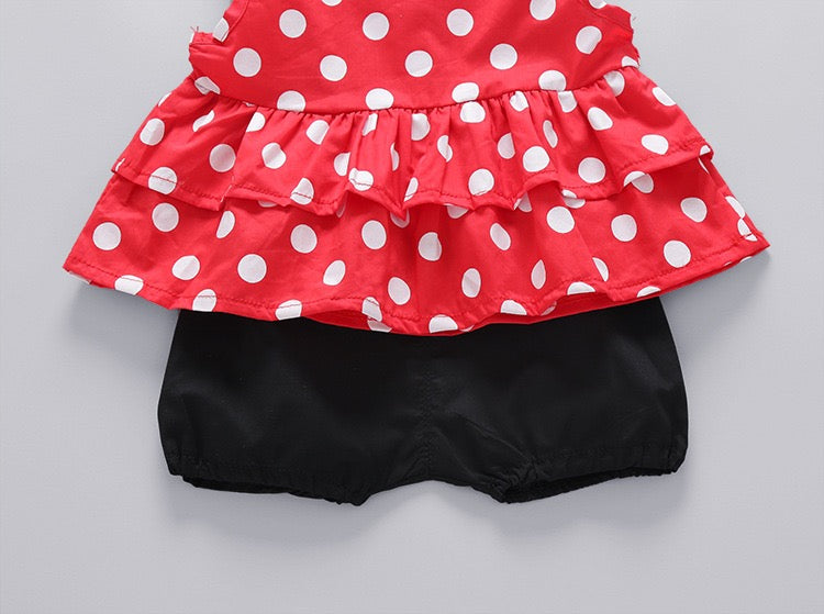 Polka Dots Set With Minnie Headband