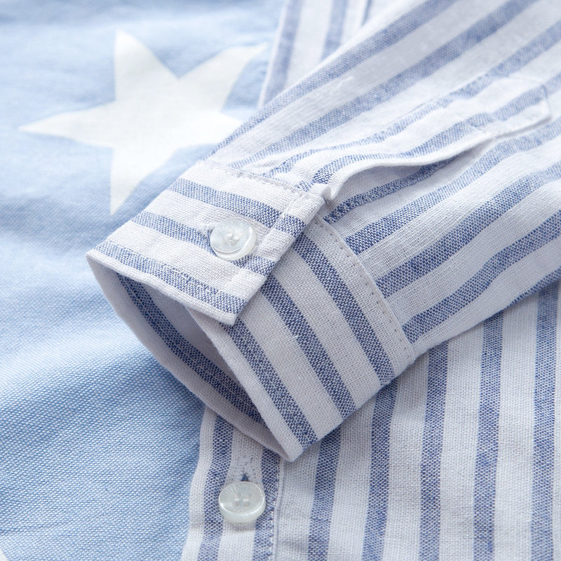 Star-Striped Bow Shirt and Denim Set