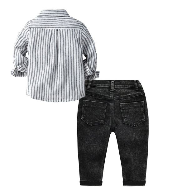 Grey STAR-STRIPED BOW SHIRT AND DENIM SET