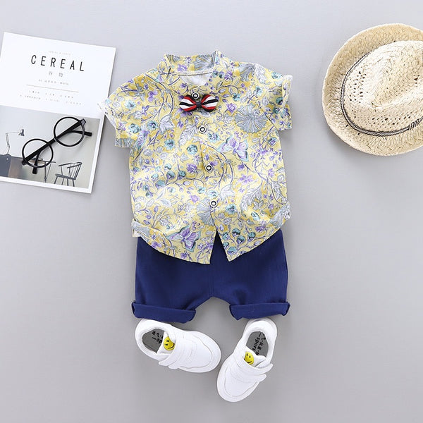 Flower Printed Shirt With Bow And Shorts Set