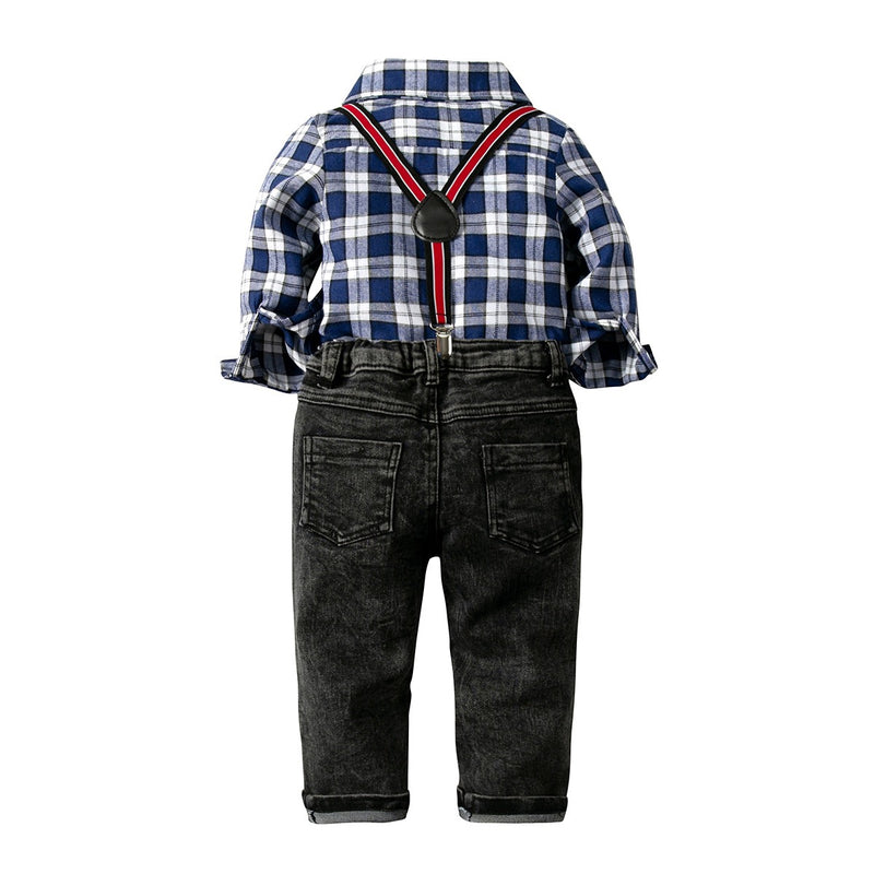 Checks Shirt with Suspender and Bow Set