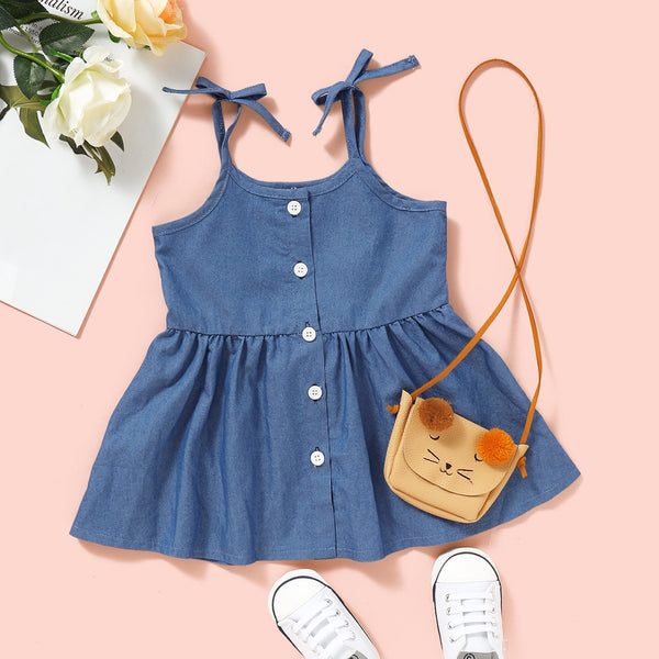 Knotted Strapped Buttoned Denim Dress