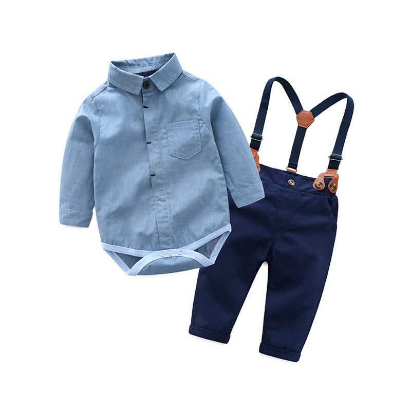 Full Sleeves Shirt Romper With Suspender Pants Set