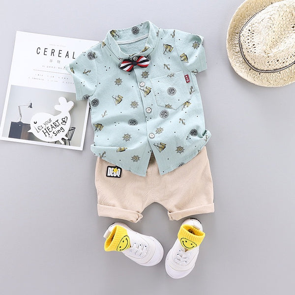 Printed Shirt With Bow And Shorts Set