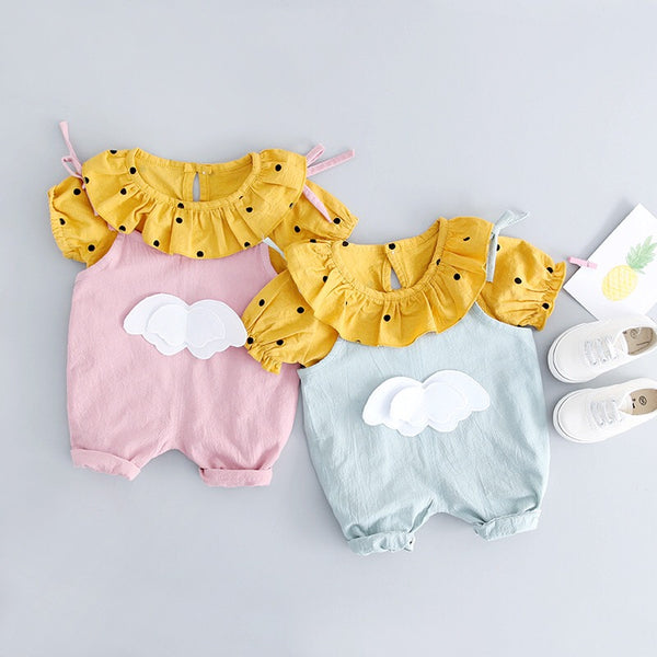 Wings Suspenders Overall Set For Baby Girls