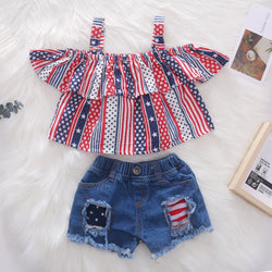 USA Flag Pattern Strap Top And Shorts Set