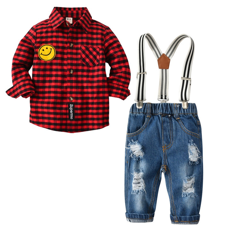 Plaided Smiley Shirt With Rugged Suspender Denim