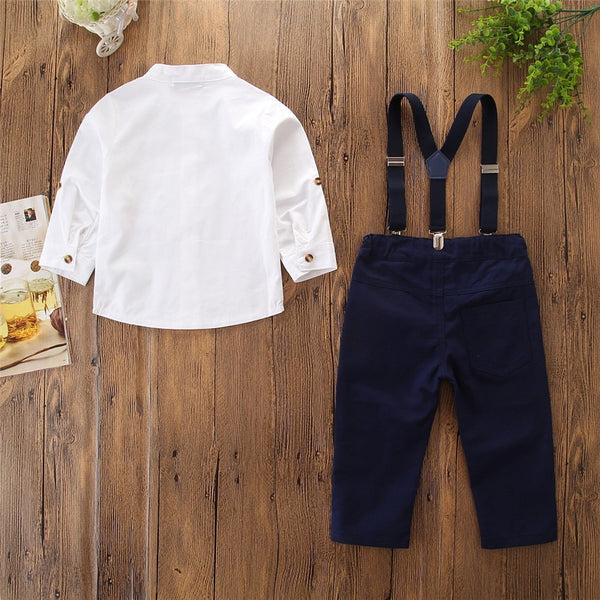 Mandarin Collar Shirt And Suspender Trouser Set
