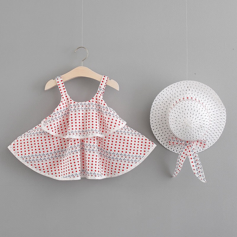 Polka Dots Sleeveless Summer Dress With Hat