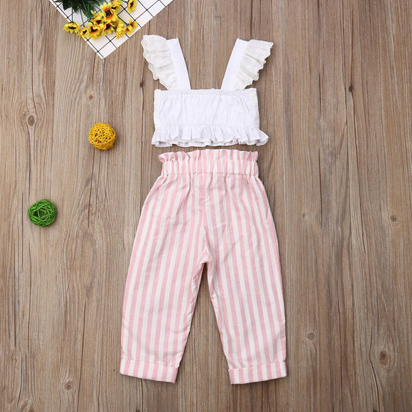 Eyelet Ruffle Top and striped pant set
