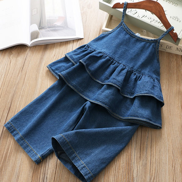 Frill Denim Top And Denim Pants