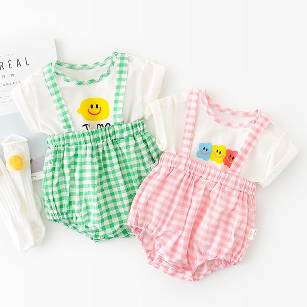 Checkered Dungaree And Tshirt set