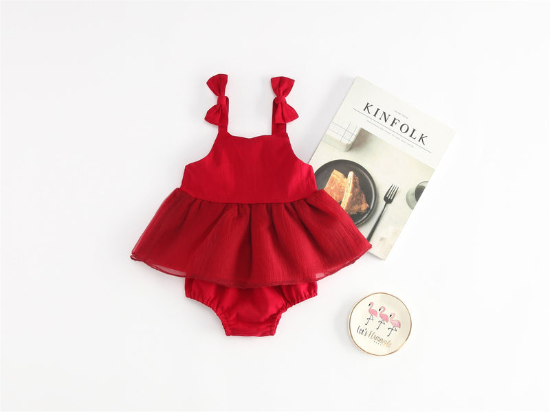 Bow Strapped Pleated Bloomer Dress