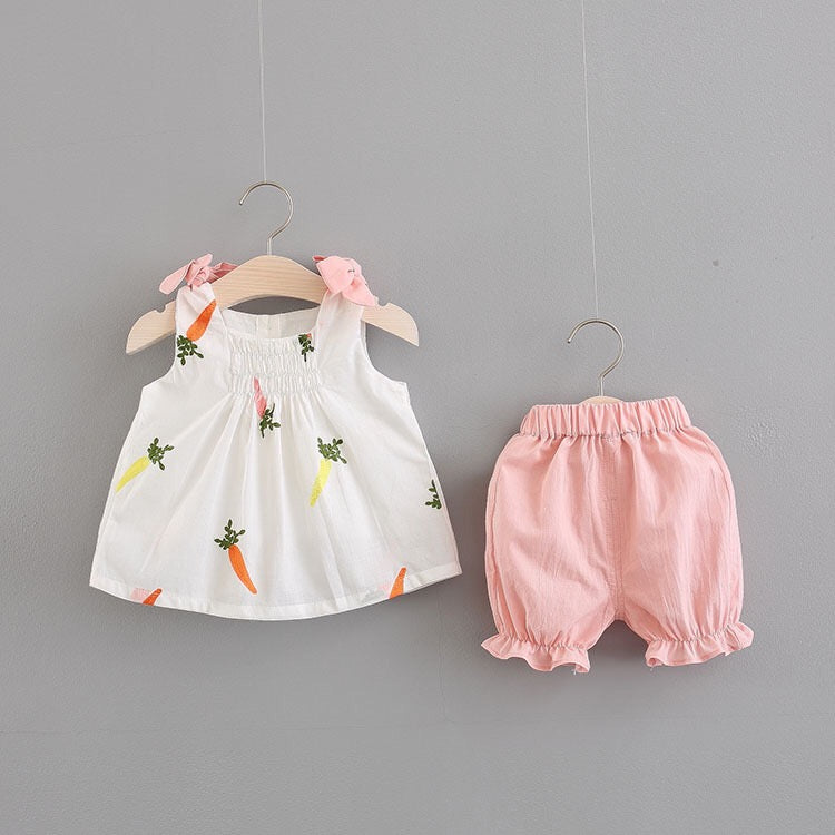 Carrot Printed Sleeveless Summer Set