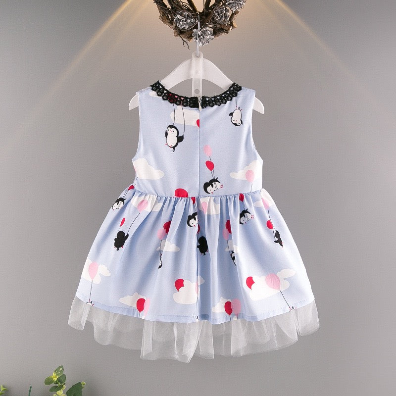 Penguin Printed Lace Sleeveless Dress