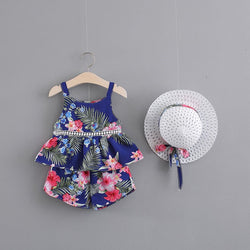 Printed Sleeveless Summer Set With Hat