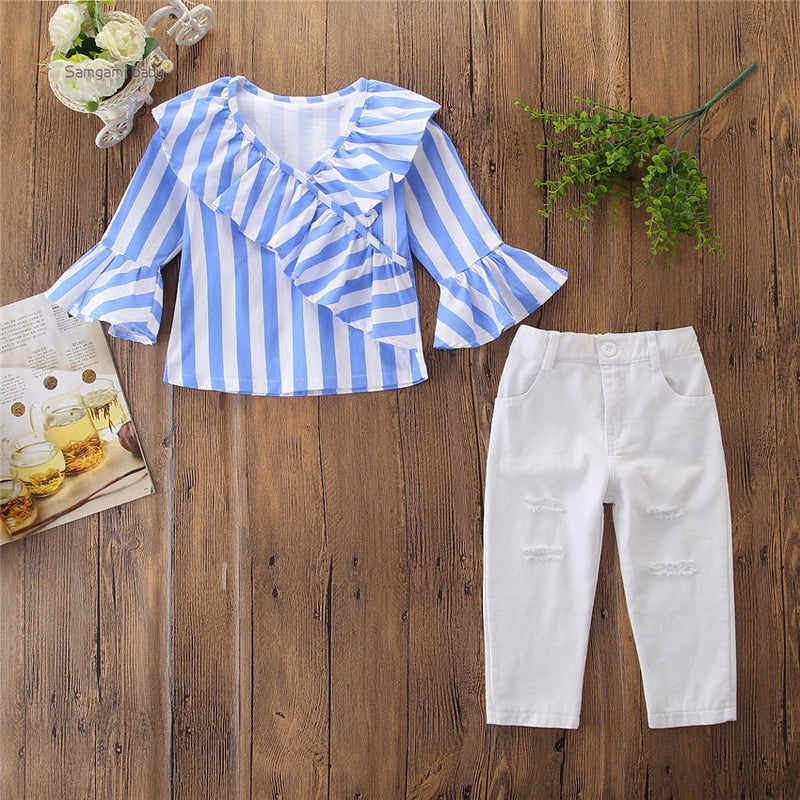 Striped Frill Top And Rugged Pant Set