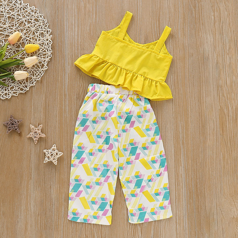 Peplum Yellow Top And Printed Pant Set