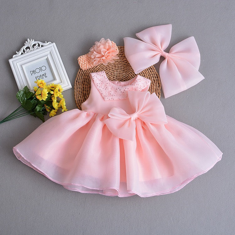 Sequined Collar And Bow Party Dress With Headband