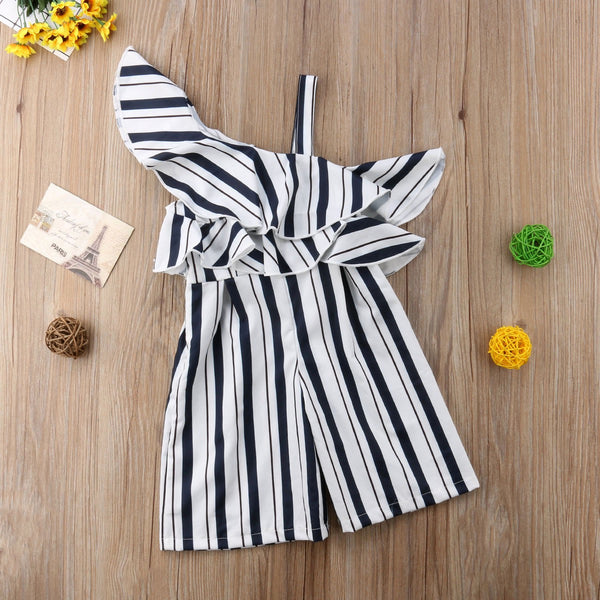 Striped One Off Shoulder Jumpsuit