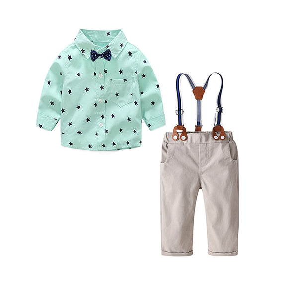 Star Printed Bow Shirt And Suspender Pant Set