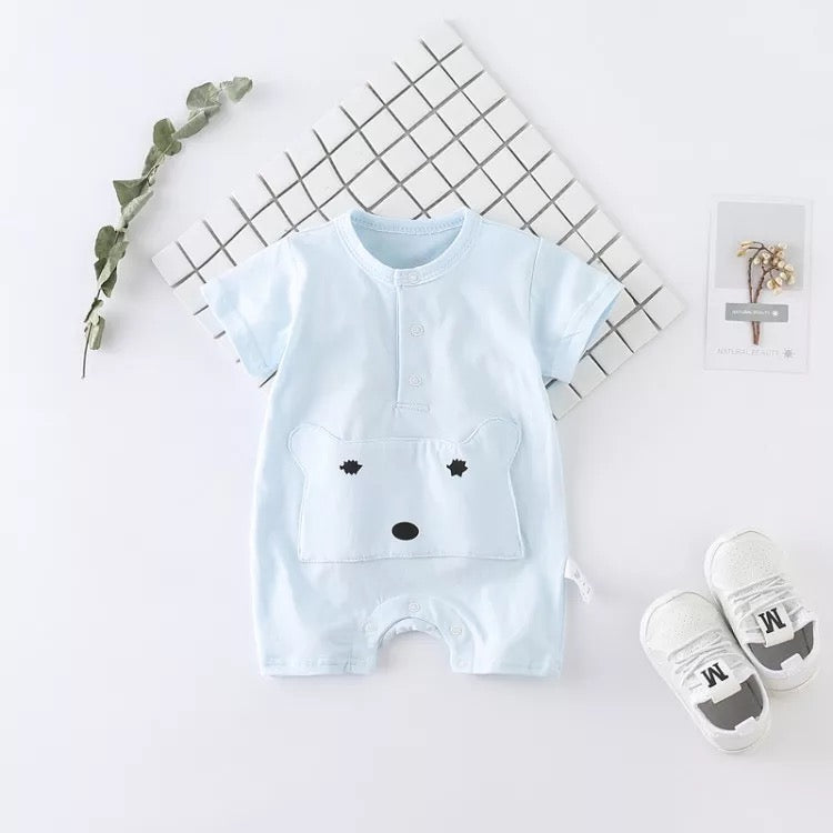Bear Pocket Half Sleeves Summer Romper