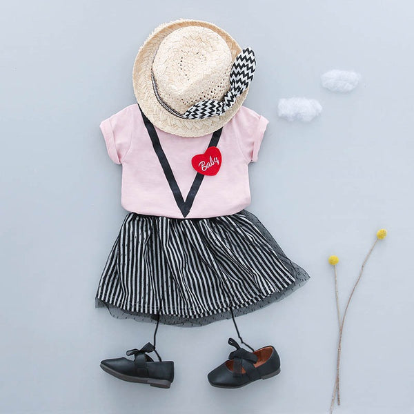 Baby Tshirt And Striped Skirt Set