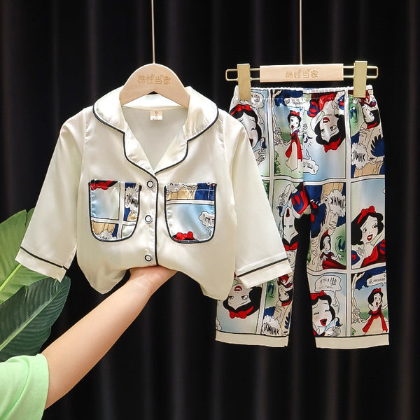 Cartoon printed double pocket night suit