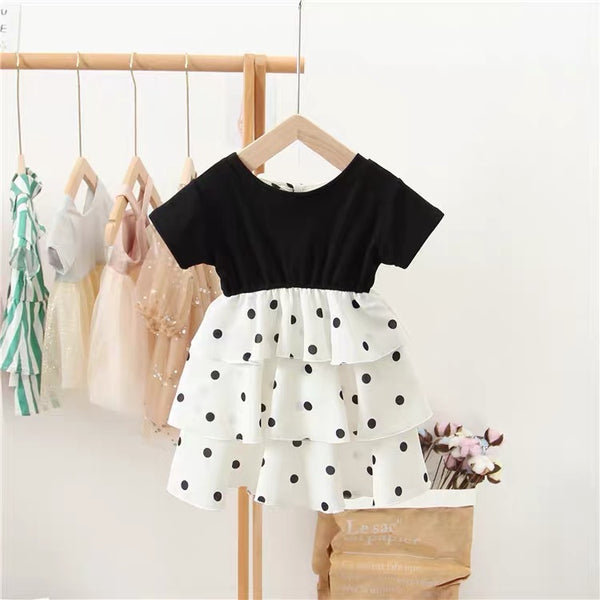 Polka Dotted Layered Dress with bow collar