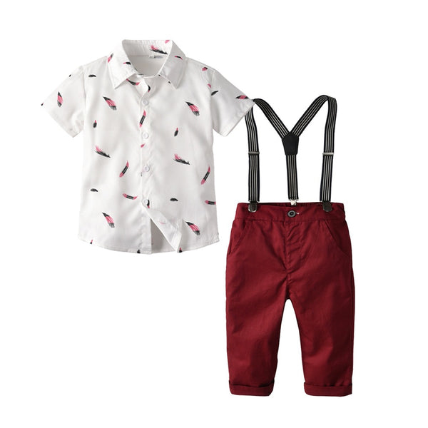 Leaf Printed Shirt And Suspender Pant Set