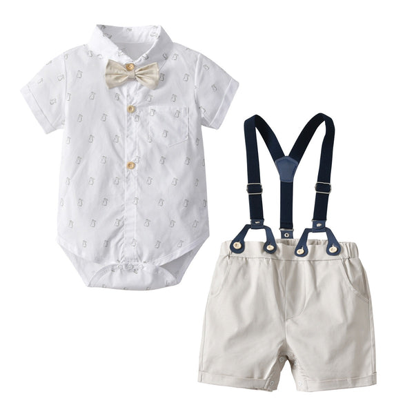 Animal Printed Bow Romper And Suspender Shorts Set