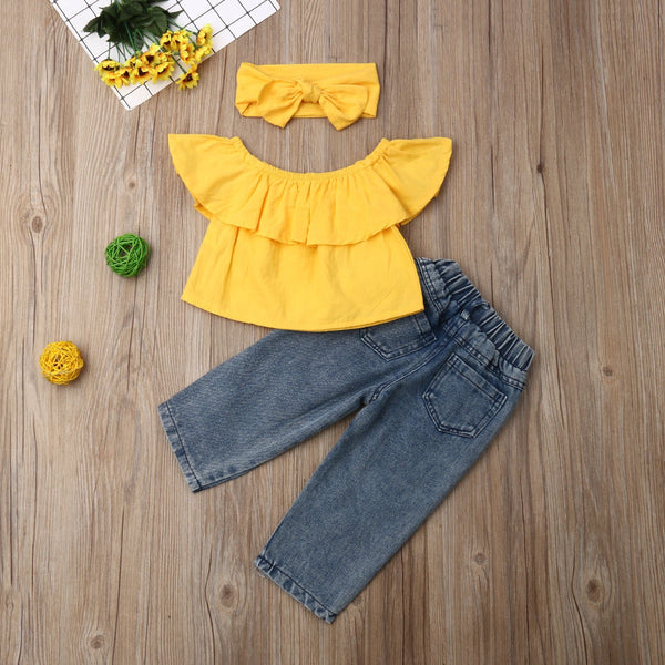 Yellow Off Shoulder Top And Rugged Denim