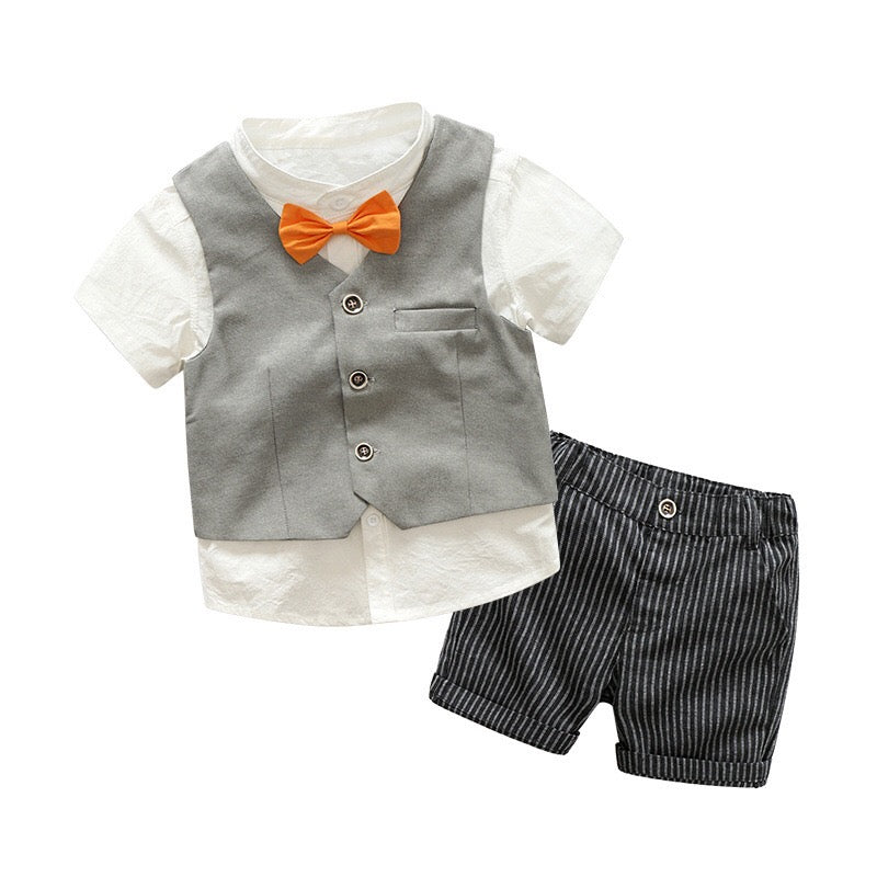 Bow Shirt With Waistcoat And Shorts