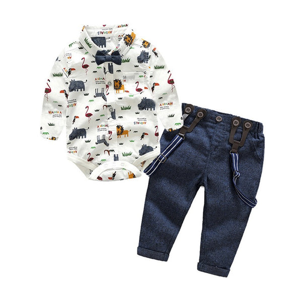 Jungle Theme Romper Plus Suspender Pants Set
