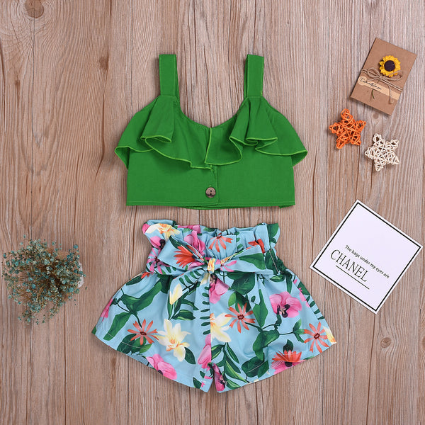 Flare Green Top And Floral Shorts Set