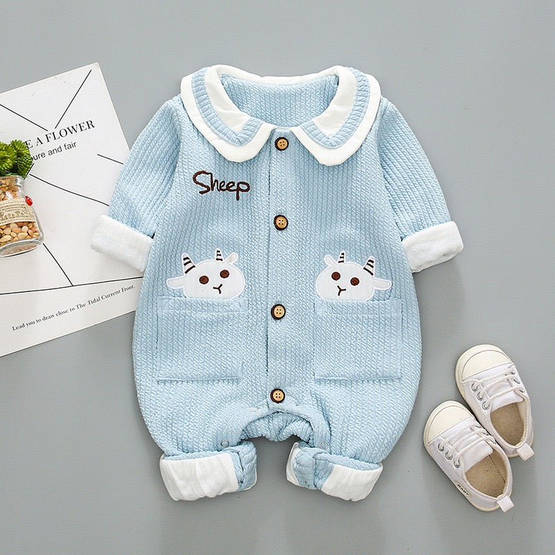 Sheep Printed Double Pocket Bodysuit