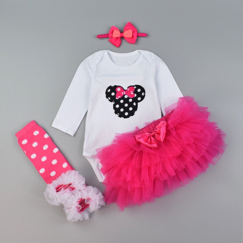 Minnie Mouse Tutu Dress With Headband And Leg Warmers