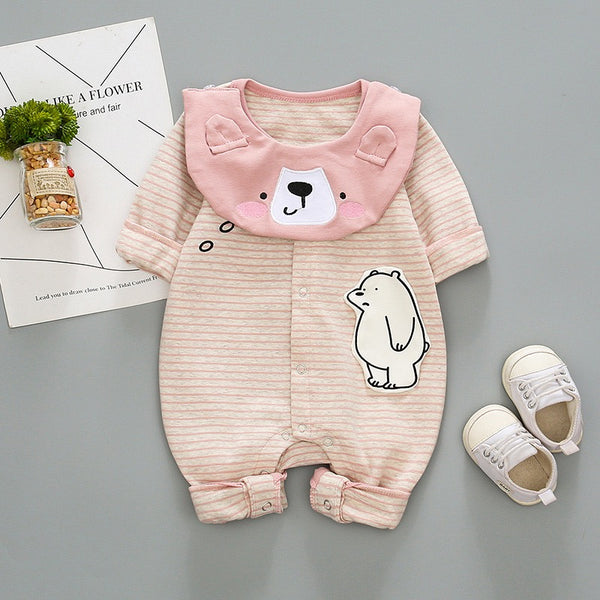 Polar Bear Printed Striped Bodysuit