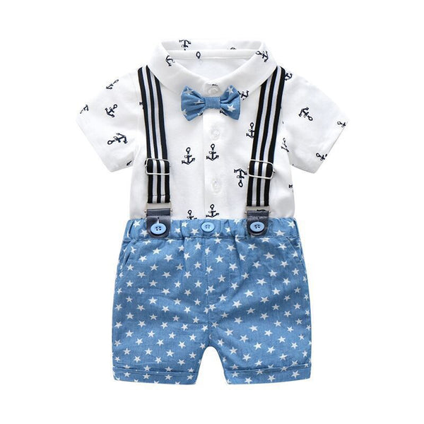 Anchor Printed Bow Shirt And Star Printed Suspender Shorts Set