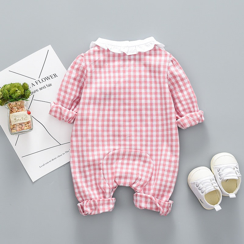 Doll Collar Plaided Buttoned Bodysuit