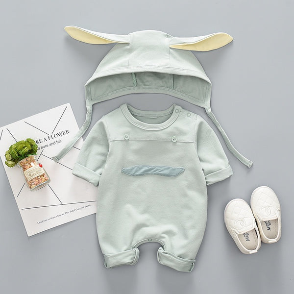Mustache Made Romper With Rabbit Cap