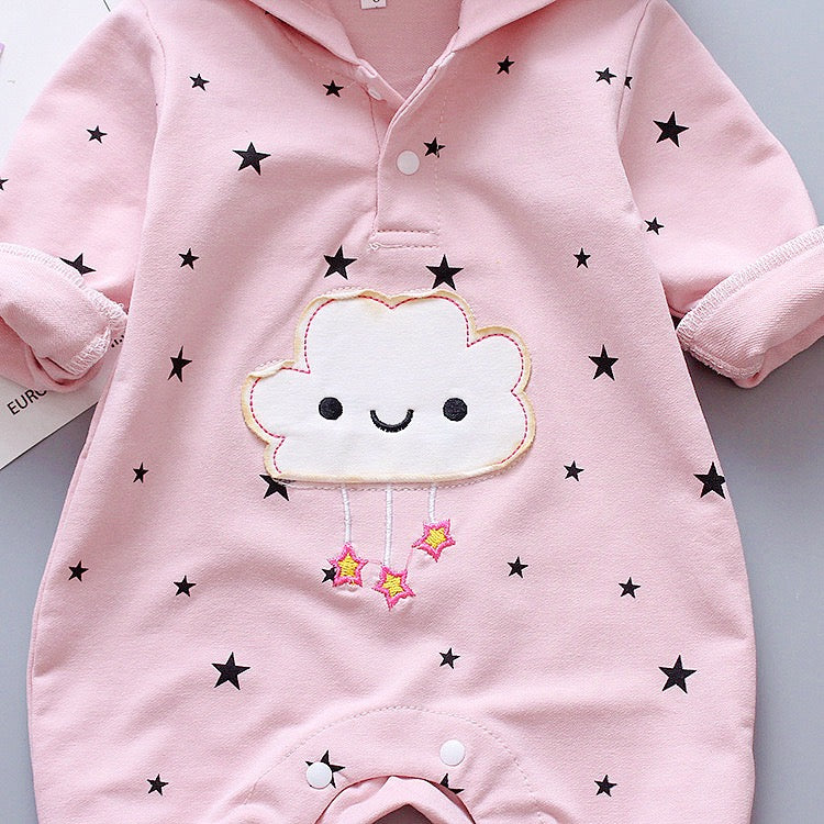 Star Printed Hooded Jumpsuit