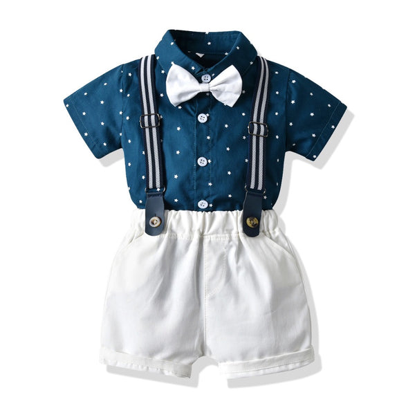 Polka Dots Shirt with bow and suspender shorts