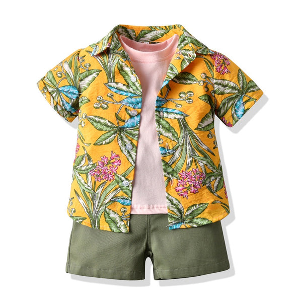 Floral Shirt With Tshirt And Shorts Set