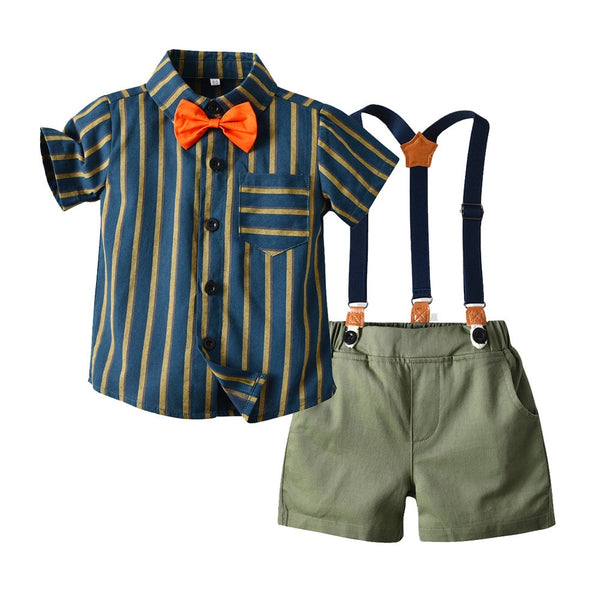 Striped Shirt With Bow And Suspender Shorts Set