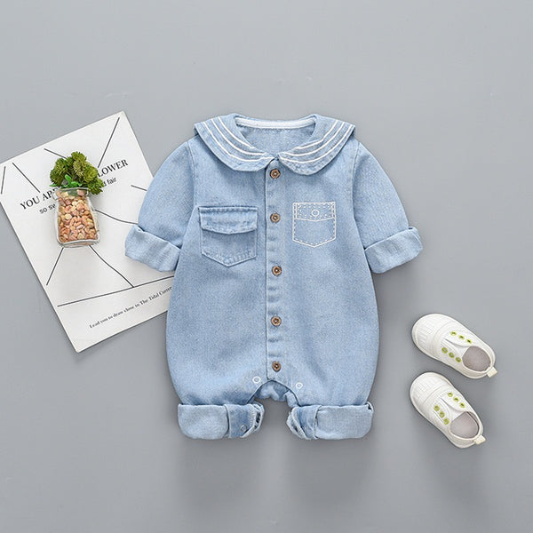 Printed Collar Buttoned Denim Jumpsuit
