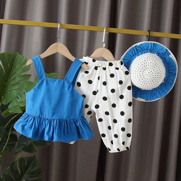 Peplum Top And Polka Dots Pants Set With Hat
