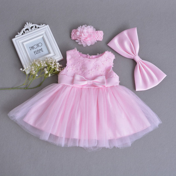 Pink Flower Bow Party Dress With Headband