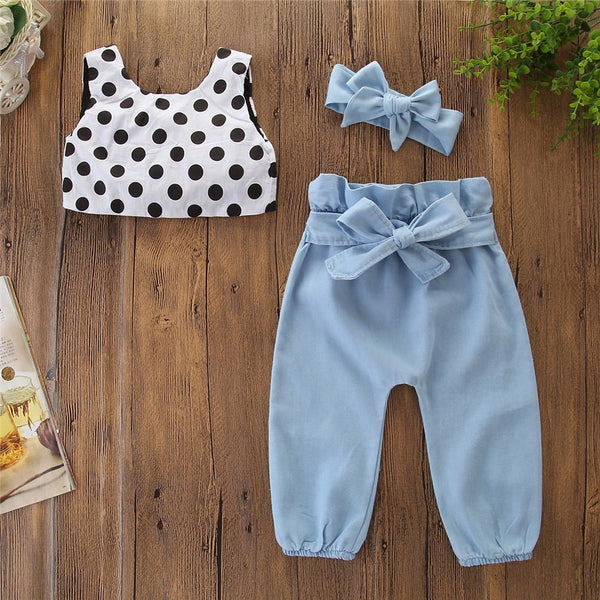 Polka Dotted Crop Top And Trouser Set